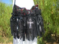 Bohemian Gypsy Black Lace Gothic Steampunk Purse - Crossbody Bag - Black Fringe Romantic Purse - Hippie Bag via Etsy