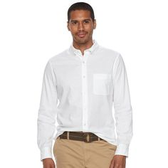 Men's SONOMA Goods for Life™ Flexwear Slim-Fit Oxford Button-Down Shirt, Size: Medium, White