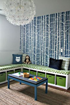 amazing kid room - love the wallpaper