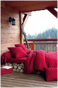 Real Home Inspiration: sleeping porch lawn fabric that look beautiful Outdoor Bedroom, Outdoor Living, Outdoor Decor, Rustic Outdoor, Into The Woods, Cabins In The Woods, Interior Exterior, Interior Design, Sweet Home