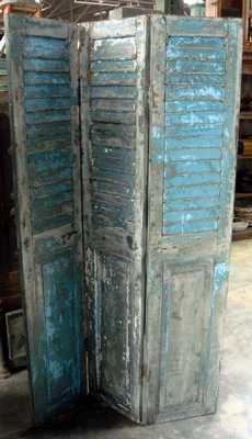 Adding architectural elements to your decor gives you a chance to create your own story, imbuing the space with reminders of the past and the flavour of another era. Our Shutter Screen combines both architectural feature and room divider in one. Capturing the charm of old European heritage, with a blue and grey old paint patina, it can be easily re-located around your home to create the backdrop for a French decor. Screen is 3 panelled, made from recycled old doors. $859
