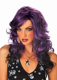 Womens Curly Black Wig Streaks Purple Violet Hair Frizzy Punk 80s Rocker Adult