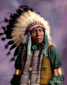 Colorized a vintage photo of a Native American Indian Chief Flying Hawk.
