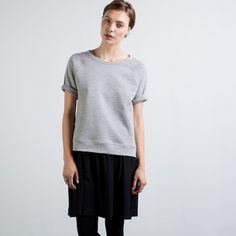 The Short Sleeve Sweatshirt - Heather Grey – Everlane