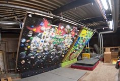 System climbing wall. Moon wall campus board