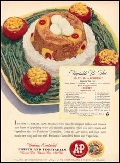 """Vegetable Hi-Hat: made with """"Vegetable loaf"""" and rice, topped with cherries, pineapple rings, and hard boiled eggs."""