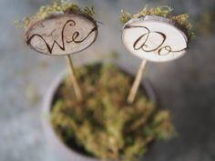 Maple Tree Slice Woodland Cake Topper with Dried Moss - Rustic Forest or Mountain Wedding