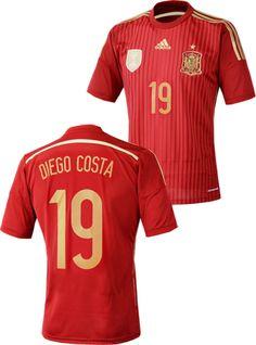 スペイン代表2014シーズン ホームユニフォーム。 ワールドカップ2014ブラジル大会着用モデル。 「#19 DIEGO COSTA」オフィシャルマーキング入り。