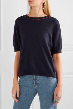 Miu Miu - Split-back Bow-embellished Wool Sweater - Navy - IT36