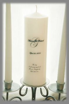 Personalized Unity Candle Set with Monogram, wedding candles, weddings, wedding decorations by waxingeloquent on Etsy https://www.etsy.com/listing/169019530/personalized-unity-candle-set-with