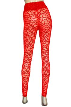fcfbac69a6529 Lace leggings Sheer red tights Plus size lingerie High rise slim pants Rave  festival bottoms