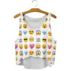 Scoop Neck Loose Fitting Emoji Print Crop Top For Women $3.51