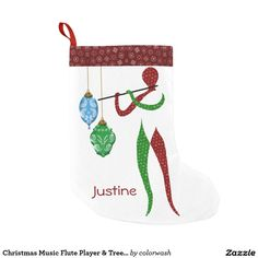 Christmas Music Flute Player & Tree Ornaments Christmas Stocking - Personalize this unique Christmas stocking with its abstract flute player dressed in a red and green railroad scarf design and decorated with tree ornaments. All you need do is edit the placeholder for the name, and you'll have a beautiful addition to the mantel. #Christmas #stocking #flute