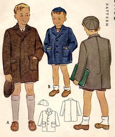 1940s Toddler Boys Coat and Cap Vintage Sewing Pattern McCall 4355 size 2 uncut. $12.00, via Etsy.