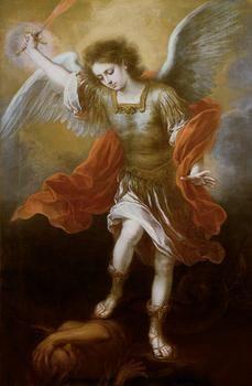 Artist: Bartolomé Esteban Murillo  1617 - 1682 Seville   The Archangel Michael hurls the devil into the abyss