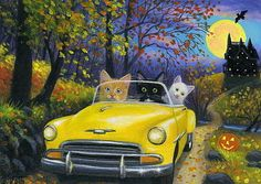 Kittens cats car haunted house road moon Halloween original aceo painting art #Realism Bridget Voth (Artist). Ebay ID star-filled-sky