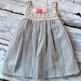 Silver Sparkle Crochet Dress with Pink Gauze Flower Accents