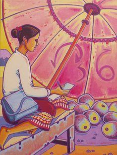 TABLEAU PEINTURE personnage laos composition couleur - femme Lao