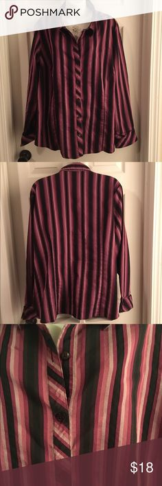 "LANE BRYANT 💜 Long-Sleeve Button-Down Shirt 20-24 Size 22/24 Lane Bryant long-sleeved button-down vertical-stripe shirt. Cotton blend, so it's a thicker fabric with a slight sheen to it. Lovely cuffs. Measures 27"" pit-to-pit so check your measurements as I think this runs small for a 22/24 - it fits me about right, and I usually wear an 18/20 in LB. Will also look great worn open with a tank or cami underneath. Excellent condition - no flaws to note. Lane Bryant Tops Button Down Shirts"