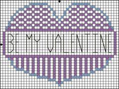 Free Cross Stitch Pattern - Be My Valentine Heart Cross Stitch Pattern: Be My Valentine Heart Cross Stitch Pattern - Color Symbol