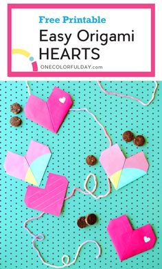 Free printable template for an easy origami heart that can double as a Valentine& Day card. This super cute heart has a pocket where you can add a small Valentine Treat. Easy Origami Heart, Easy Origami For Kids, Origami Star Box, Origami Fish, Simple Origami, Origami Folding, Valentine Messages, Valentines Diy, Valentines Outfits