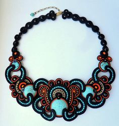 African turquoise black brown necklace soutache embroidery