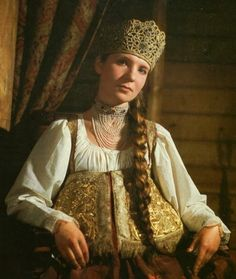 Local fashion: Traditional wedding costume and headdress of Europe. Bride from North Russia