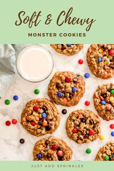 These monster cookies have all the good stuff in them! Peanut butter, chocolate chips, oats, M&M candies, a little hint of cinnamon…these babies got something for everyone. #cookies #monstercookies #easy #homemade