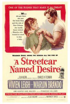 """""""A Streetcar Named Desire"""" with Vivien Leigh and Marlon Brando,1951."""