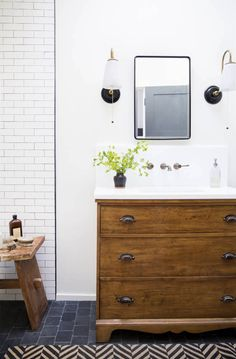 Bathroom Design - Wood Vanity and Subway Tiles -Lauren Liess.Love the colors and dresser vanity in this bathroom Rustic Bathroom Vanities, Modern Bathroom, Small Bathroom, Master Bathroom, Wood Bathroom, Tiny Bathrooms, Bathroom Vintage, White Bathrooms, Vintage Vanity
