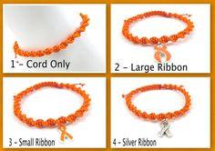 Orange Awareness Anklet Macrame Spiral Custom by EledesignbyLauren, $8.00
