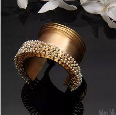 Gold broad cuff with pearls Gold Bangles, Bangle Bracelets, Fashion Jewelry, Women Jewelry, Fashion Online, Jewelery, Jewelry Design, Pearls, Stuff To Buy