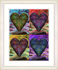 Four Hearts by Zhee Singer Framed Fine Art Giclee Painting Print