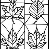 Fall Crafts for Kids -- Stained Glass Leaf Downloadable Coloring Page
