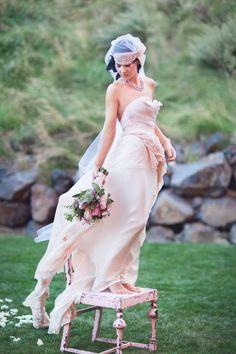 Before Sunrise- Royal Blush Wedding Gown  Bohemian full train flowers pearls. $3,000.00, via Etsy.