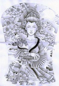 Full Back Tattoos, Cover Up Tattoos, Tattoo Sketches, Tattoo Drawings, Geisha Tattoo Design, Dibujos Tattoo, Graffiti Tattoo, Geisha Art, Japanese Tattoo Art