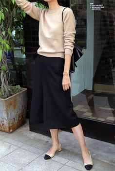Look de moda  Jersey con cuello circular marrón claro 79c33a5bb8e7