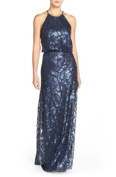 Free shipping and returns on Donna Morgan 'Tiffany' Sequin Halter-Style BlousonGown at Nordstrom.com. Capture the spotlight in a lovely mesh gown covered in a glittering mosaic of sequins. Cutaway shoulders draw the eye to your face and blousonstyling creates lovely, flattering drape, while the floor-sweeping skirt makes an enchanting finish.