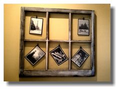 Vintage Picture Window for my bathroom! I picked the window up at an Antique store for four dollars, postcards at IKEA for five dollars, picture wire and decorative clips!