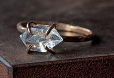 Herkimer Diamond Crystal RIng in Rose Gold by LexLuxe on Etsy, $148.00