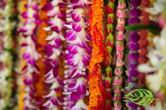 So many different types of lei.  Flowers by Heidi, Four Seasons Resort Hualalai Weddings