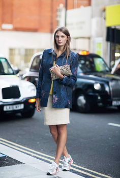 What Wear - Sneakers with. Photo via Stockholm Street Style Recreate with Asos floral jacket, pink silk skirt, turquoise jumper and trainers Only Fashion, Star Fashion, Girl Fashion, Female Fashion, Fashion Addict, How To Wear Sneakers, Skirt And Sneakers, Street Look, Street Style Looks
