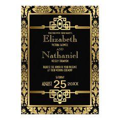 Golden Romance 1920s Art Deco Wedding Invitation