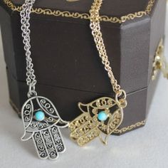 """Gold and Silver Hamsa Hand Necklaces Both colors available. Brand new. Price is for one. See last pic for size reference. 17"""" to 20"""" chain with lobster clamp. Jewelry Necklaces"""
