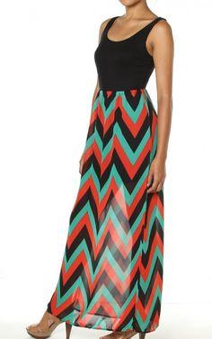 Black Red Chevron Print Chiffon Sleeveless Tank Long Maxi Dress $28.95