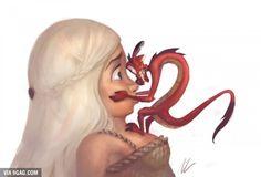 This would be funny ! Mulan 's Dragon and Daenerys Targaryen from Game of Thrones  #GOT #Mulan  #Dragon
