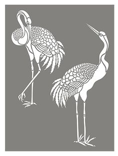 Large Standing Cranes Stencil