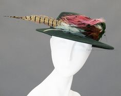 555a6939cb5 Green felt hat with pheasant feathers by Jane Robinson.