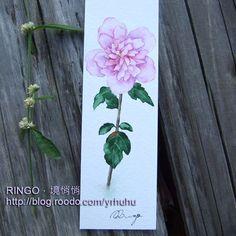 Rose of Sharon watercolor painting bookmark, handmade card, flower illustration. Facebook: https://m.facebook.com/ringo.handpainter/