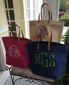 "Because you can never have too many monogrammed tote bags...""Monogrammed Jute Tote Bag"""